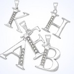 Sterling Silver White Diamond Studded Alphabetical Pendants!