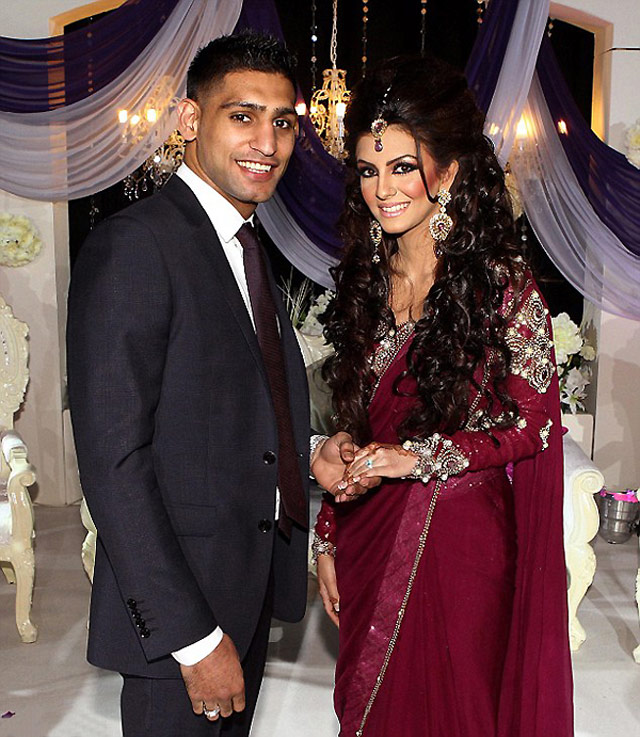 Boxer Amir Khan Gifts £100,000 Platinum Diamond Ring to Fiancée Faryal Makhdoom at Engagement Ceremony!