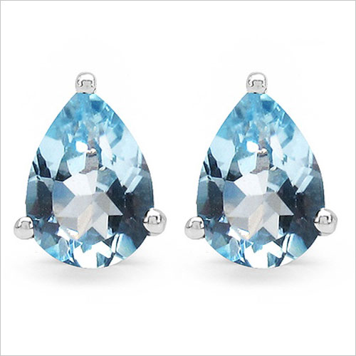 Johareez 92.5 Sterling Silver Pear Shape Genuine Blue Topaz Earrings