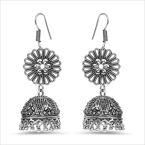 Johareez Alloy Oxidised Studded Silver Coloured Earrings