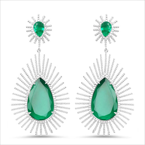 Johareez Green Brass Hangings Earrings