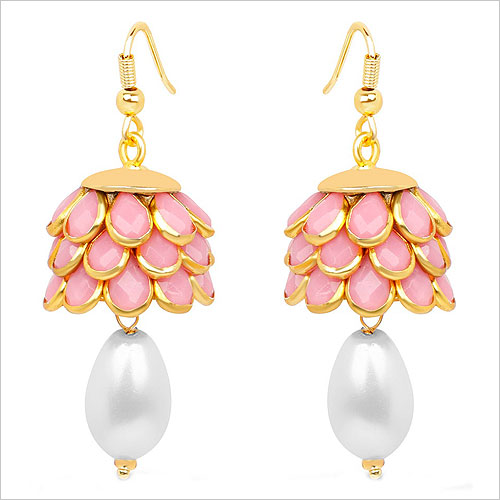 Johareez Pink Brass Hanging Earrings